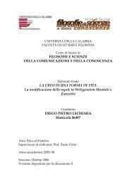 universita' degli studi della calabria - Corso di Laurea in Filosofie e ...