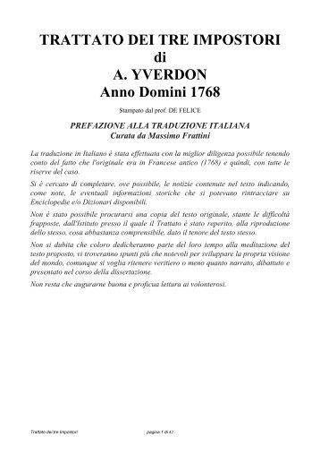 trattato dei tre impostori - Fondazione Università Popolare di Torino