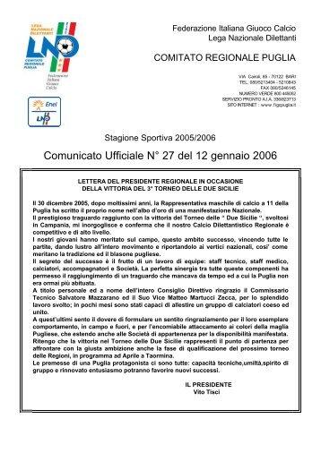 Comunicato Ufficiale N° 27 del 12 gennaio 2006 - Comitato ...