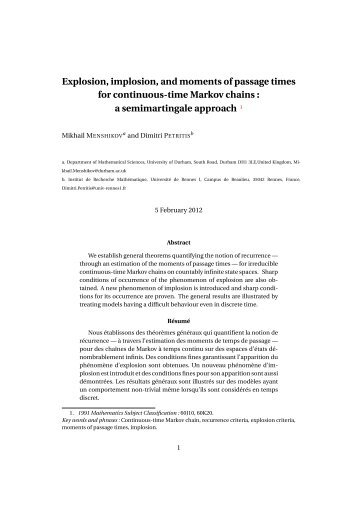 Explosion, implosion, and moments of passage times for continuous ...