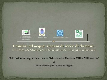 Mulini ad energia idraulica in Sabina ed a Rieti tra VIII e XIII ... - Pereto
