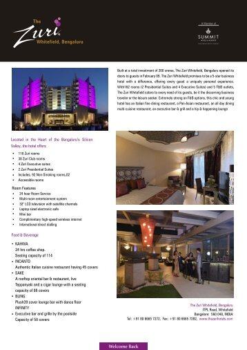 Fact Sheet Final - Zuri - Hotels & Resorts