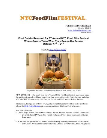 Event Details NYC 2012 - NYC Food Film Festival