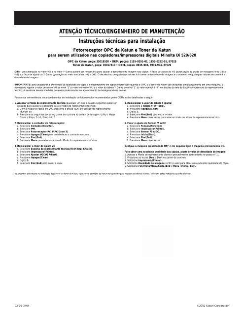ATTENTION SERVICE TECHNICIAN/ENGINEER Installation ... - Katun