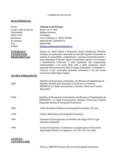 Curriculum Vitae Metodi E Modelli Per L Economia Il Territorio E