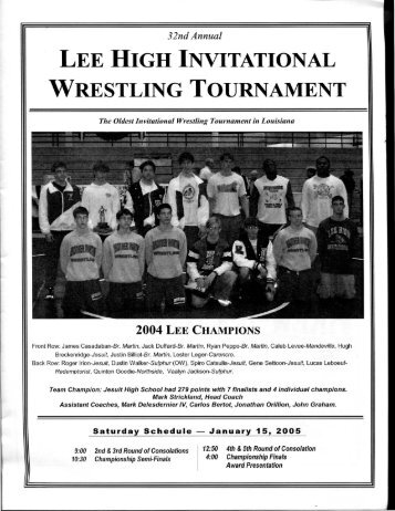 32nd Annual LEE HIGH INVITATIONAL WRESTLING TOURNAMENT