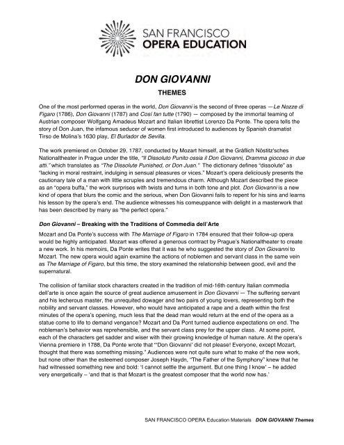Don Giovanni Themes - San Francisco Opera