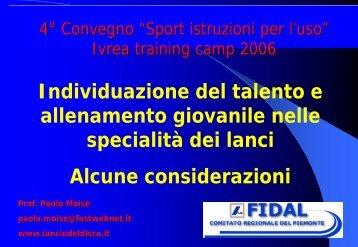 Individuazione del talento e allenamento giovanile ... - Fidal Piemonte