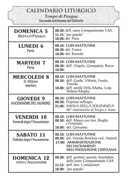 Giovanna D Anna Calendario.Calendario Liturgico Temp