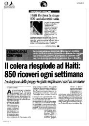 Haiti, il colera fa strage 850 casi alla settimana - Dipartimento della ...