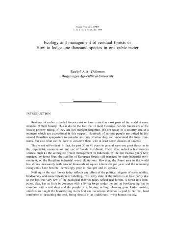 Ecology and management of residual forests or How to lodge ... - Ipef