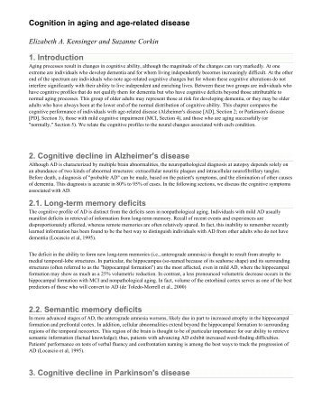Cognition in aging and age-related disease