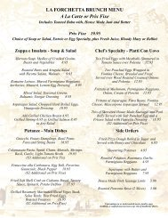 LA FORCHETTA BRUNCH MENU A La Carte or Prix Fixe