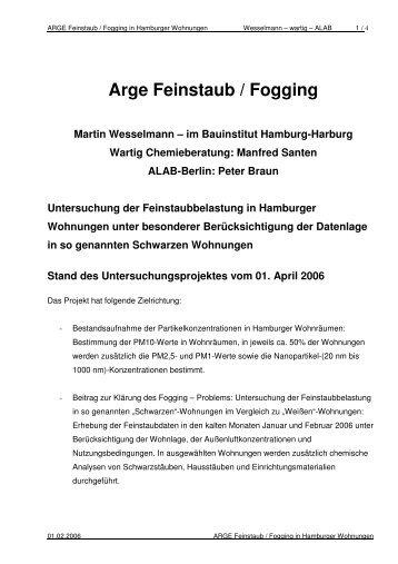 Untersuchung der Feinstaubbelastung in Hamburger Wohnungen