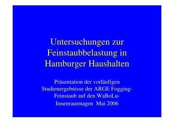 Untersuchungen zur Feinstaubbelastung in Hamburger Haushalten.