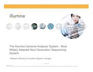 The Illumina Genome Analyzer System - Most Widely Adopted Next ...