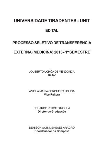Edital Processo Seletivo de Transferência Externa ... - Vestibular Unit