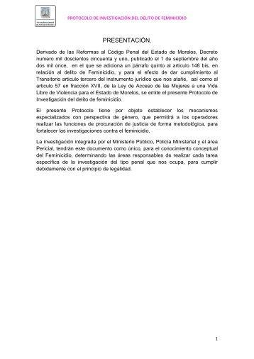 PRESENTACIÓN. - Gobierno del Estado de Morelos