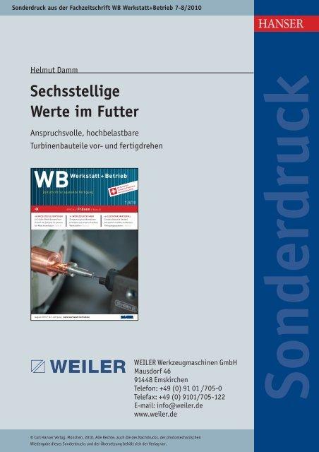 Sechsstellige Werte im Futter - Weiler Werkzeugmaschinen GmbH