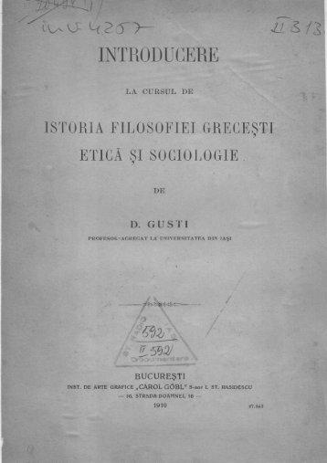 """Dimitrie Gusti – """"Introducere la cursul de istoria filosofiei greceşti"""""""