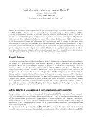 Curriculum vitae e attivit`a di ricerca di Matteo R`e Progetti di ricerca ...