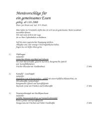Menüvorschläge für ein gemeinsames Essen - Linde-Villingendorf