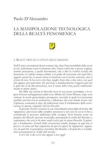La manipolazione tecnologica della realtà fenomenica ... - Led on Line