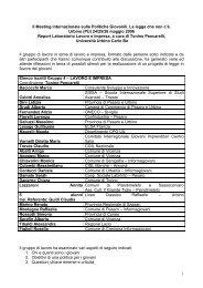 II Meeting internazionale sulle Politiche Giovanili - Provincia di ...