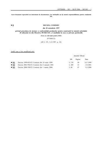 B DECIZIA COMISIEI din 20 noiembrie 1997 privind procedura de ...