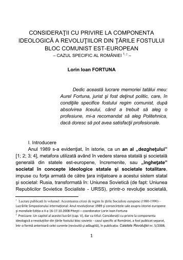 """Volumul """"CONSIDERATII CU PRIVIRE LA ... - Lorin Fortuna"""