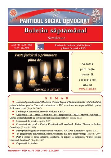 Newsletter nr. 13 - Fundatia Institutul Social Democrat Ovidiu Sincai