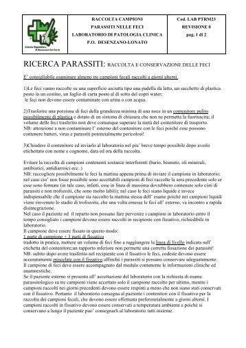 RICERCA PARASSITI: RACCOLTA E CONSERVAZIONE DELLE FECI