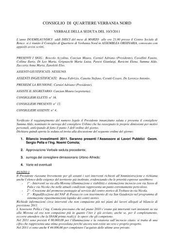 Verbale del 10 marzo 2011 - Comune di Verbania