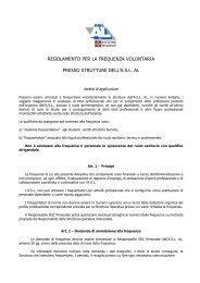 regolamento per la frequenza volontaria presso strutture dell'asl al
