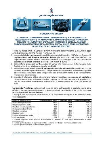 COMUNICATO STAMPA - Pininfarina