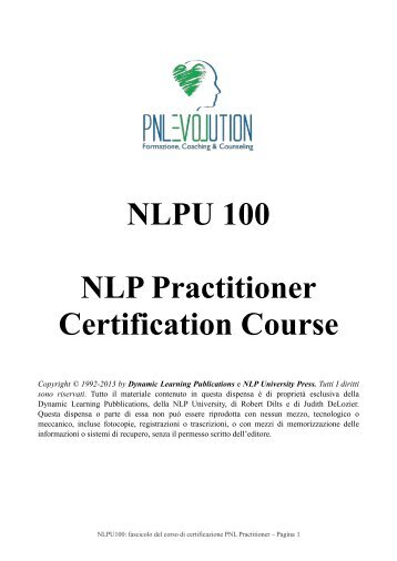 Presentazione dispensa - PNL Evolution