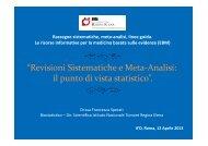 Revisioni Sistematiche e Meta Analisi. Il Punto di Vista dello ...
