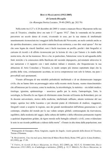 ROCCO MAZZARONE - centro di documentazione Rocco Scotellaro