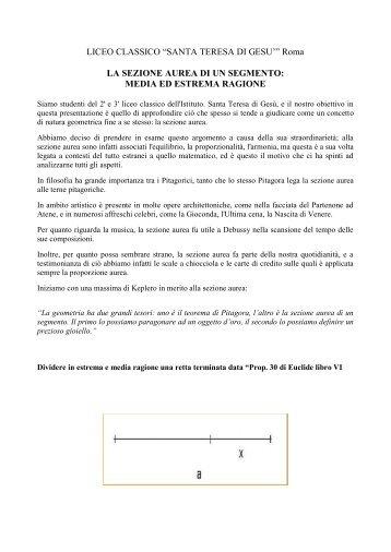 La sezione aurea di un segmento - Euclide. Giornale di matematica ...