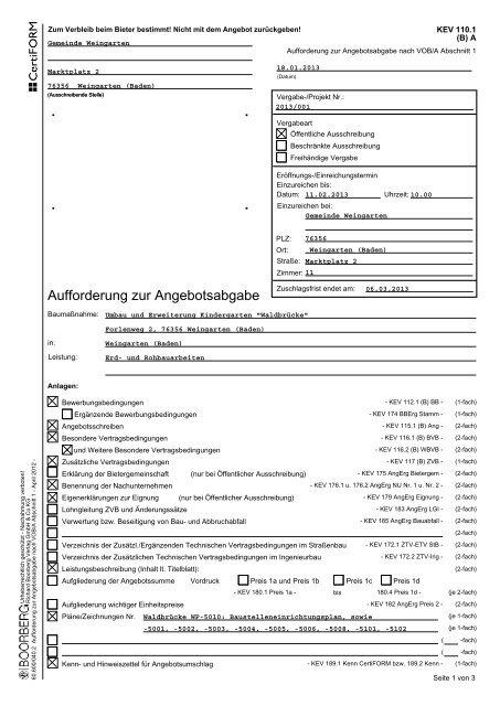 Aufforderung Zur Angebotsabgabe Gemeinde Weingarten Baden