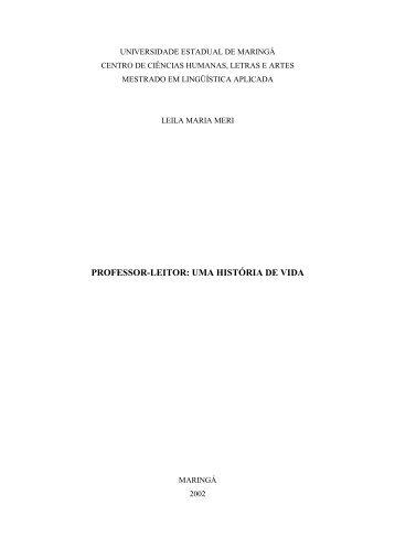 professor-leitor: uma história de vida - Programa de Pós-Graduação ...
