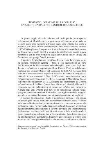 LA SALUTE OPERAIA NEL CANTIERE DI MONFALCONE In questo ...