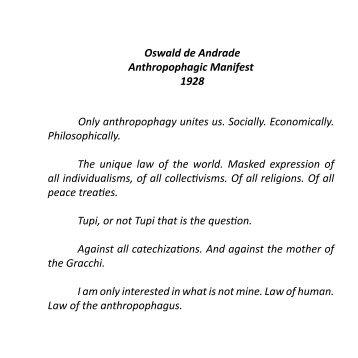 Oswald de Andrade Anthropophagic Manifest ... - Emanuel Pimenta