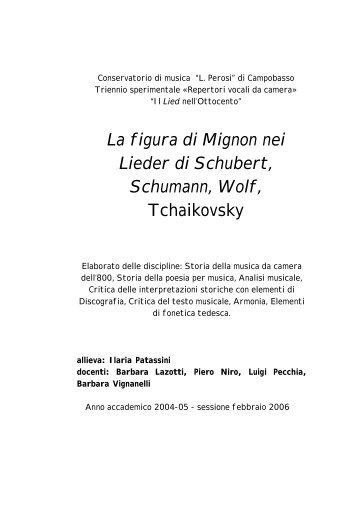 La figura di Mignon nei Lieder di Schubert ... - Barbara Lazotti