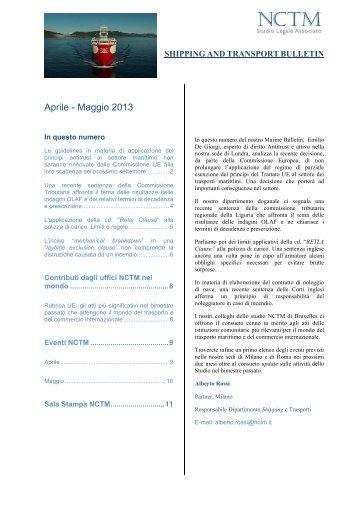 Aprile - Maggio 2013 - NCTM Studio Legale Associato