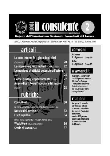 N. 2 del 12 gennaio 2002 34 il consulente 1081 - Ancl