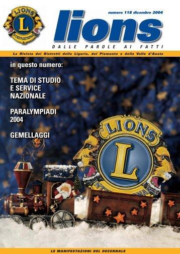 Numero 118 – Dicembre 2004 - Rivista Lions