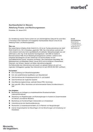 Sachbearbeiter/-in Steuern Abteilung Finanz- und Rechnungswesen