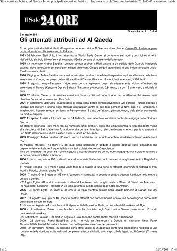 Gli attentati attribuiti ad Al Qaeda - Ecco i principali attentati attribuiti ...