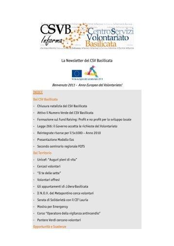NEWSLETTER CSV BASILICATA 1 del 5/01/2011